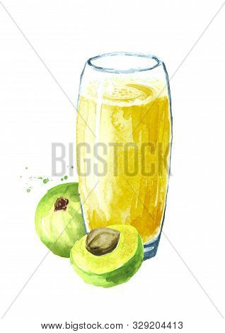 Gooseberry Or Amla Juice With Fresh Ripe Fruits. Watercolor Hand Drawn Illustration, Isolated On Whi