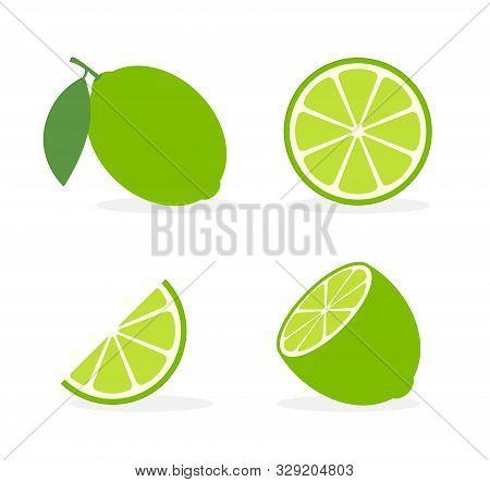 Vector Lime Slice Green Illustration Lemon Isolated Half Fruit Lime. Fresh Green Cut Citrus Icon