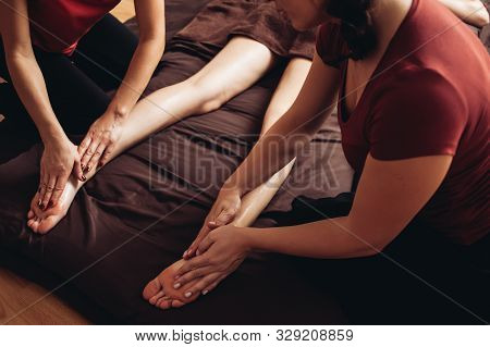 Sensual Tantric Massage In Four Hands In The Cozy Atmosphere Of A Professional Masseur Beauty Salon