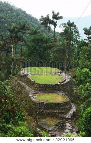 The main ceremonial terraces with the Frog Stone in the foreground in Ciudad Perdida (Lost City) in Sierra Nevada in Northern Colombia which used to be inhabited by the people called Tayrona and was rediscovered in the 1970s poster