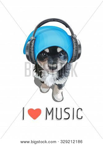 Cute Puppy Wearing Headphones. Little Funy Dog Illustration T-shirt Print. I Love Music Slogan