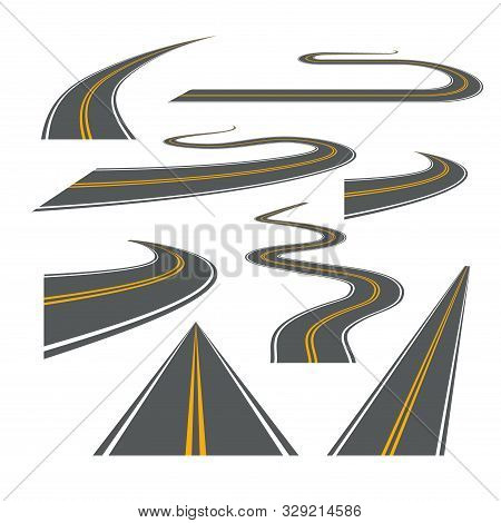 Vector Road Way Winding Journey Highway Illustration. Asphalt Street Path Isolated Road