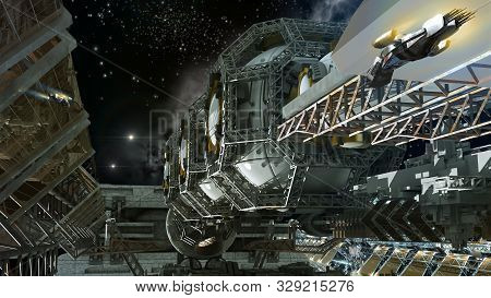 3d Close-up Illustration Of A Space Station For Futuristic Interstellar Travel Or Science Fiction Ba