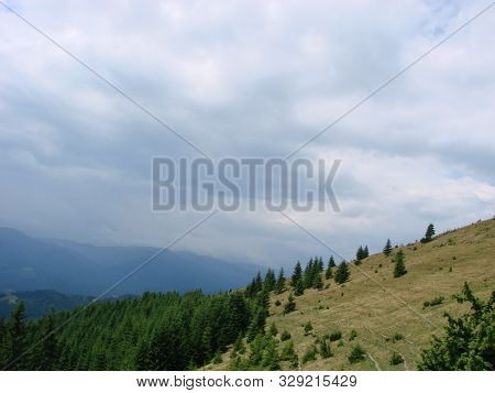 Beautiful Sunny Day Is In Mountain Landscape. Carpathian