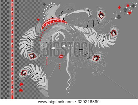 Abstract Portrait Of Beautiful Girl At Night Party. Poster For Carnival Festival Or Modern Pop Cabar