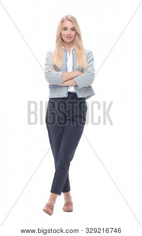 confident young business woman. isolated on light background