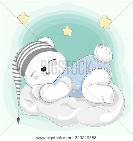 Sleeping Boy Baby Teddy Bear On Cloud In Striped Cap. Picture In Hand Drawing Style For Baby Shower.
