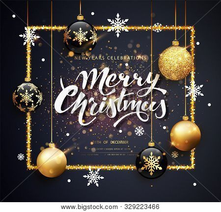 Merry Christmas Gold And Black Colors Greeting Card Web Banner Or Poster With Christmas Balls Gold G