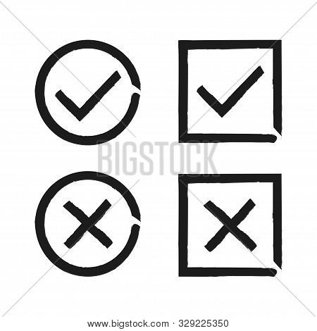 Check Mark Isolated Hand Drawn Button For Concept Design. Check List Button Sign. Vector Check Mark