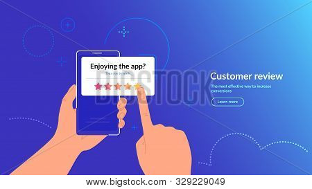Rate Our Mobile App Concept Vector Gradient Illustration Of Human Hand Holding Smartphone With White