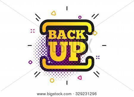 Backup Date Sign Icon. Halftone Dots Pattern. Storage Symbol With Arrow. Classic Flat Backup Icon. V