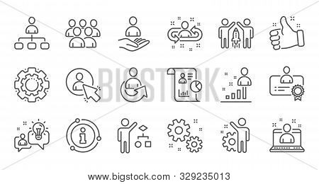 Management Line Icons. Business People, Algorithm And Group. Startup Strategy Linear Icon Set. Quali