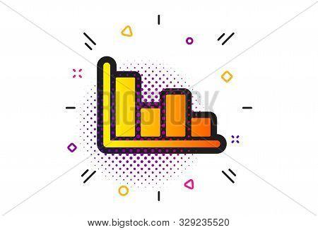 Financial Graph Sign. Halftone Circles Pattern. Histogram Column Chart Icon. Stock Exchange Symbol.