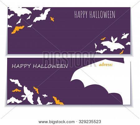 Halloween Gorizontal Background With Pattern Of Bats