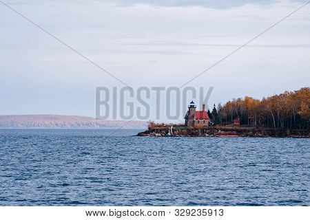 Wide Angle View Of Sand Island Lighthouse On The Apostle Islands National Lakeshore - Lake Superior