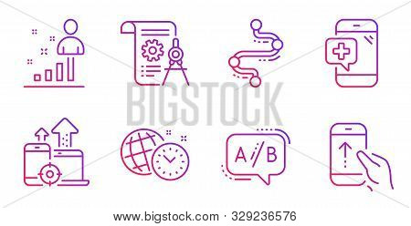 Divider Document, Ab Testing And Seo Devices Line Icons Set. Medical Phone, Time Management And Stat