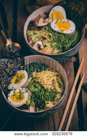 Ramen Japanese Soup. Traditional Japanese Cuisine. Asian Broth With Noodles, Bok Choy, Shiitake Mush