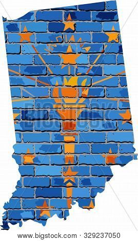 Indiana Map On A Brick Wall - Illustration,   The State Of Indiana Map With Flag Inside