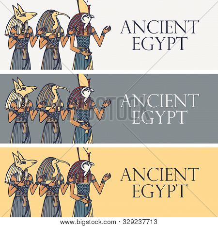 Set Of Vector Banners With Egyptian Gods And Deities - Anubis, Thoth, Horus. Advertising Posters Or