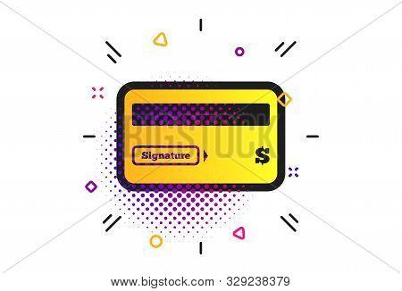Credit Card Sign Icon. Halftone Dots Pattern. Debit Card Symbol. Virtual Money. Classic Flat Credit