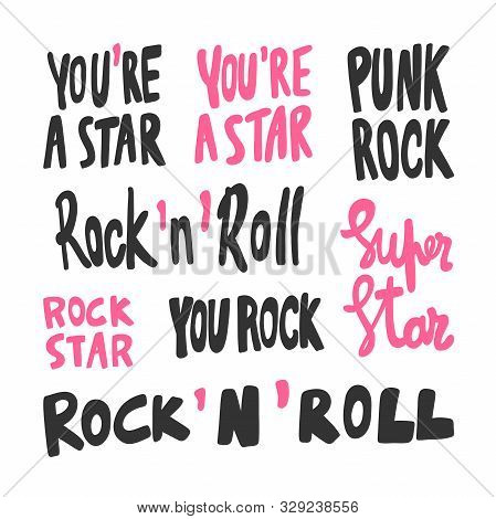 Rock And Roll Collection Set. Star, Super, Punk. Sticker For Social Media Content. Vector Hand Drawn