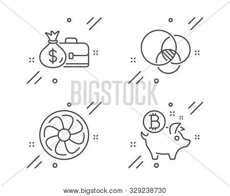 Salary, Euler Diagram And Fan Engine Line Icons Set. Bitcoin Coin Sign. Diplomat With Money Bag, Rel