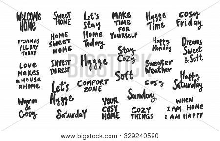 Hygge, Cozy, Comfort, Cozy, Time, Sweet, Soft, Weekend, Warm, Home. Sticker Collection Set For Socia