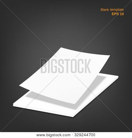 Vector Illustration Of Single Blank Paper With Stack Of Paper Sheets. Empty White Papers With Shadow