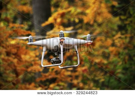 Flying Drone In Autumn Forest With Yellow Leaves