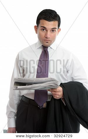 Businessman With Financial News