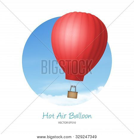Vector 3d Realistic Red Hot Air Balloon On Blue Sky Background. Design Template For Branding. Blank