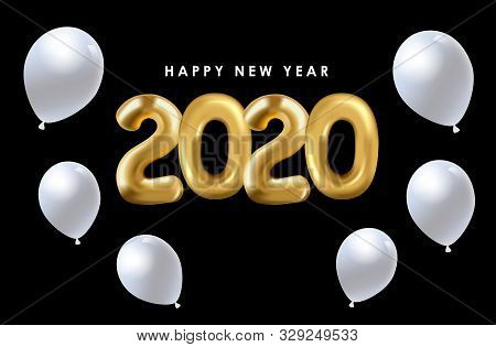 2020 Gold Balloon Text On A Black Background. New Year 2020. Creative Concept Of New Year Text Desig