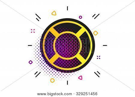 Lifebuoy Sign Icon. Halftone Dots Pattern. Life Salvation Symbol. Classic Flat Lifebuoy Icon. Vector