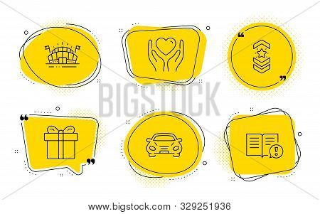 Hold Heart, Sports Arena And Facts Signs. Chat Bubbles. Car, Shoulder Strap And Gift Box Line Icons