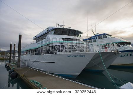 Seward, Ak, Usa - Sep. 19, 2019: Kenai Fjords Tours Ship Orca Voyager At Seward Boat Harbor In Sewar
