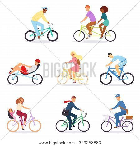 Bicycle Vector Bikers People Character Biking On Cycle Transport Illustration Set Of Man Woman Bicyc