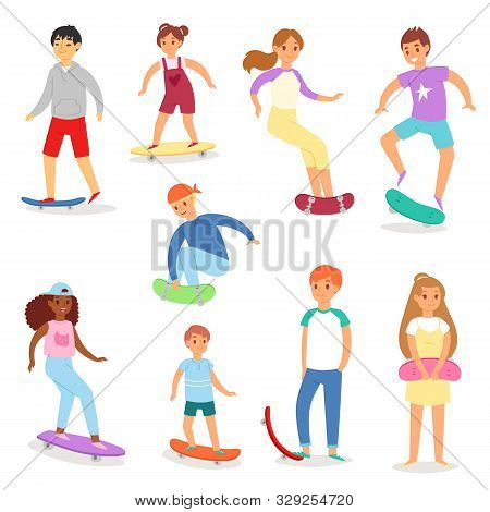 Skateboarders Vector Young Boy Or Girl Characters Skateboarding On Skateboard Illustration. Set Of T