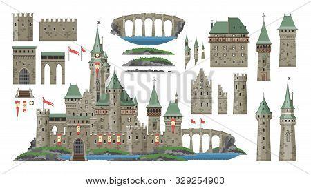 Cartoon Castle Vector Fairytale Medieval Tower Of Fantasy Palace Building In Kingdom Fairyland Illus