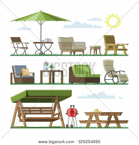 Garden Furniture Vector Table Chair Seat On Terrace Design Outdoor In Summer Backyard Outside Illust