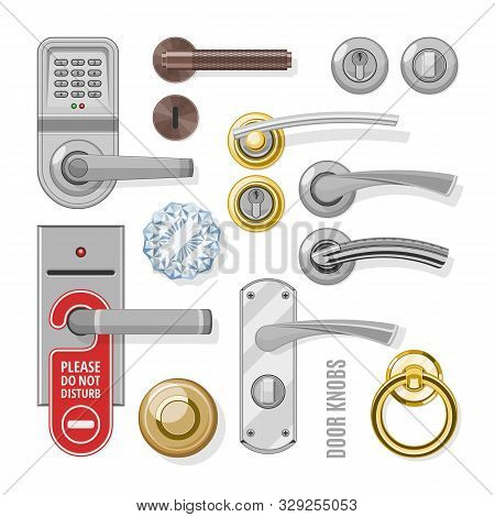 Door Knobs Vector Doorknob Handle To Lock Doors At Home And Metal Door-handle In House Interior Illu