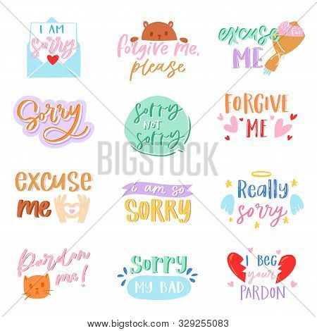 Sorry Text Vector Excuse Lettering Design Forgiveness Message Apologize Typography Script Illustrati