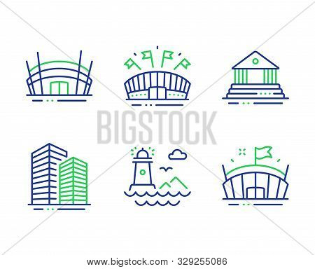 Lighthouse, Arena Stadium And Sports Arena Line Icons Set. Court Building, Skyscraper Buildings Sign