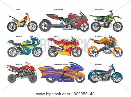 Motorcycle Vector Motorbike Motoring Cycle Ride Transport Chopper Illustration Motorcycling Set Of S