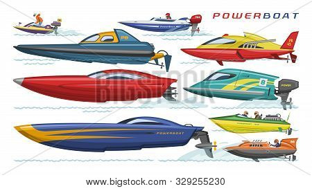 Power Boat Vector Speedboat Sailboat Transport In Sea Ocean Illustration Set Of Nautical Motorized Y