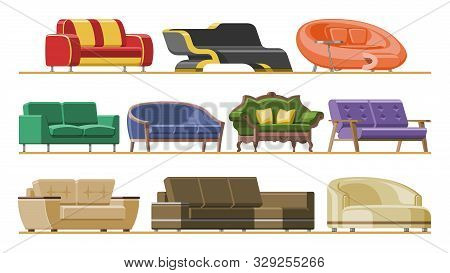 Sofa Vector Modern Furniture Couch Seat Furnished Interior Design Of Living-room At Apartment Home I