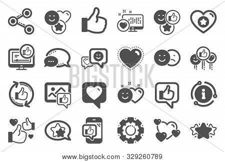 Social Media Icons. Set - Share Network, Social Links And Rating Icons. Heart, Feedback Smile Emotio