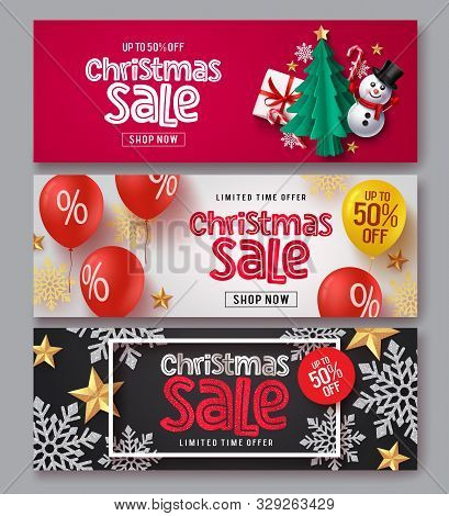 Christmas Sale Vector Banner Set. Christmas Sale Text With Xmas Elements Of Gift, Snowman, Tree, Can