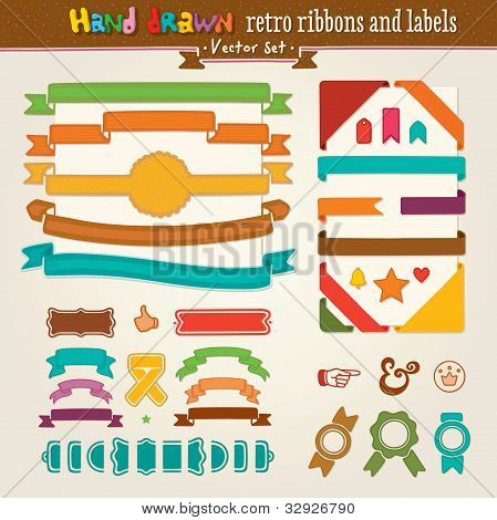Vector Hand Draw Set Of Retro Ribbons And Labels
