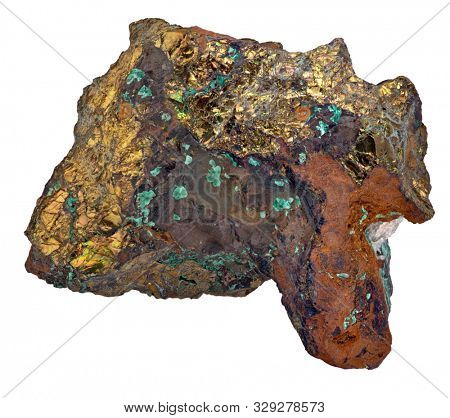 pyrite in malachite mineral isolated on white background