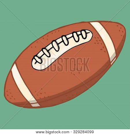 Rugby Ball. Vector Illustration Of A Rugby Ball. Hand Drawn Ball With Lacing For Playing American Fo